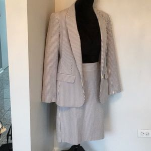 Banana Republic Seersucker Blazer & Skirt